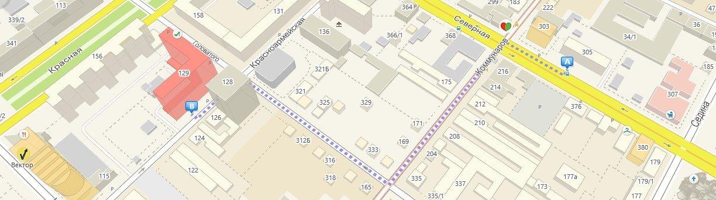 Маршрут от остановки Коммунаров (ул. Северная) до офиса сервиса IT LAB